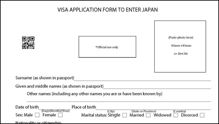 査証申請書の見本