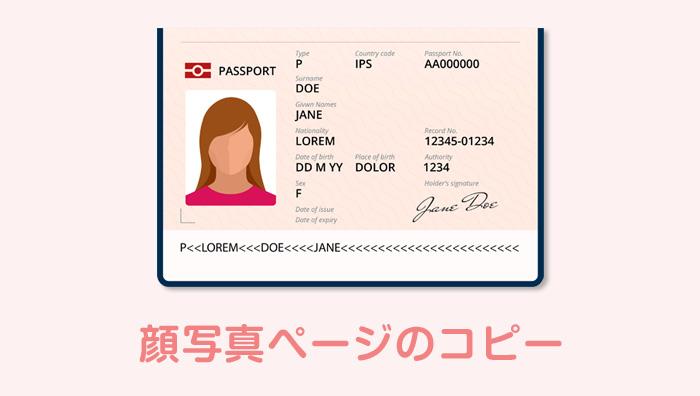 パスポートの顔写真ページのコピーを添付