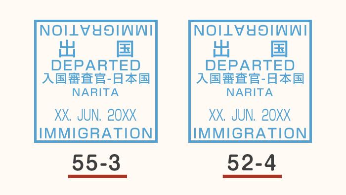 パスポートに押印される出国スタンプ