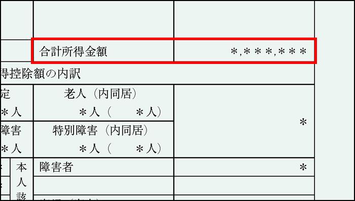 課税証明書の合計所得金額欄