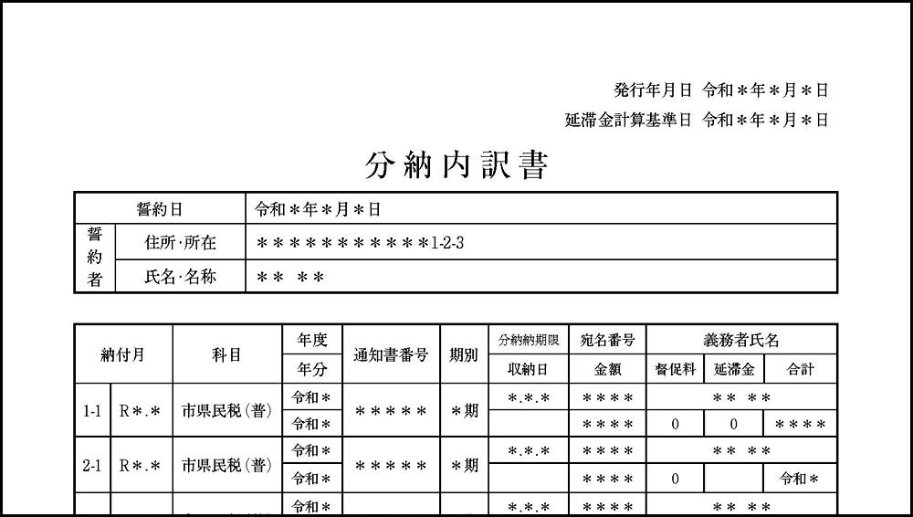 分納内訳書の見本・サンプル