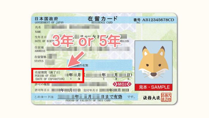 在留期間は在留カードに印字される