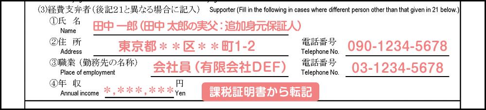 配偶者ビザ申請の在留資格変更許可申請書_2枚目の20の3_補足記入例