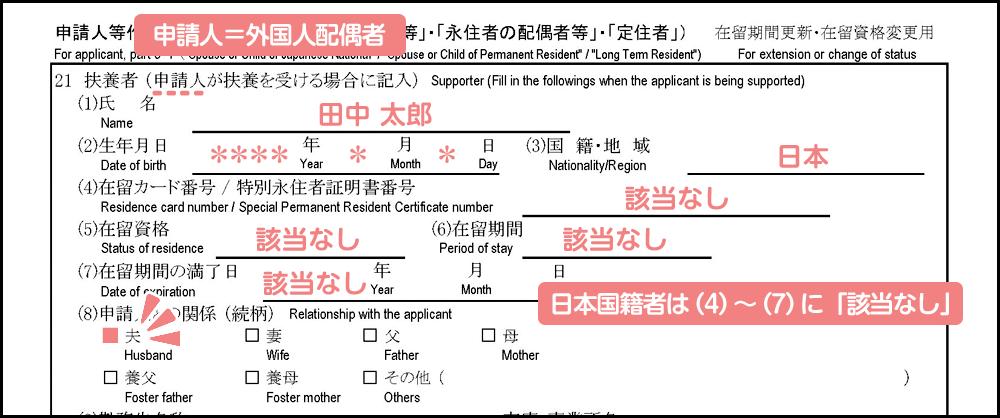 配偶者ビザ申請の在留資格変更許可申請書_3枚目の21の前半