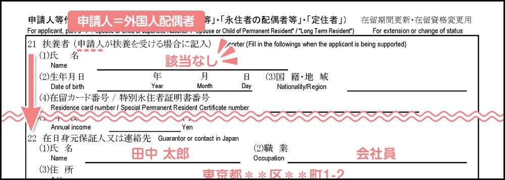 配偶者ビザ申請の在留資格変更許可申請書_3枚目の21の前半補足