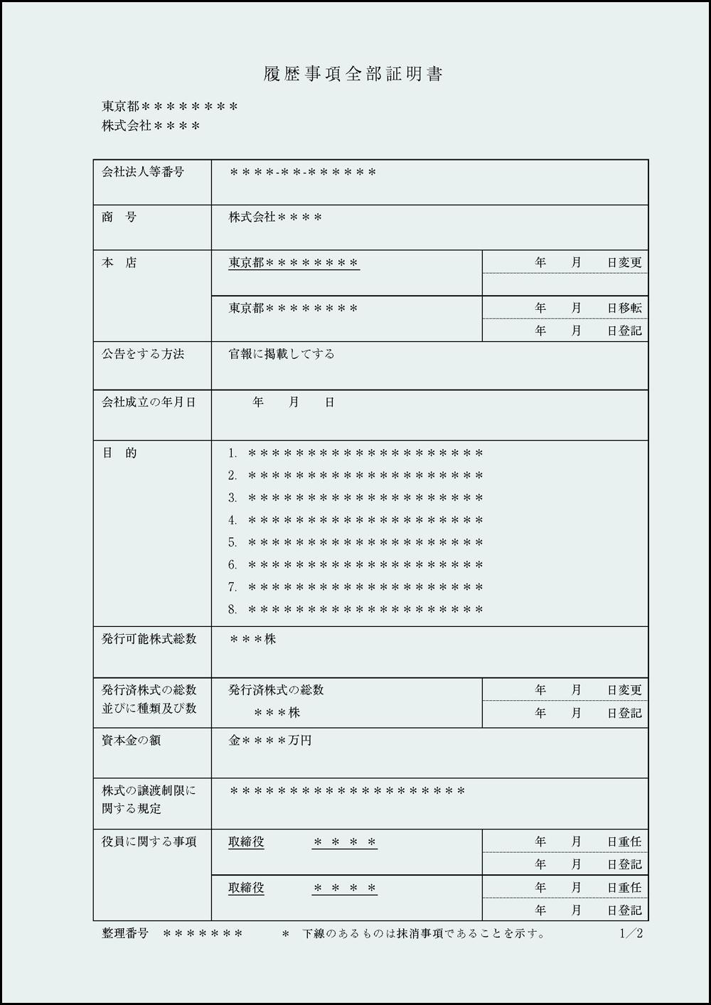 履歴事項全部証明書の見本・サンプル