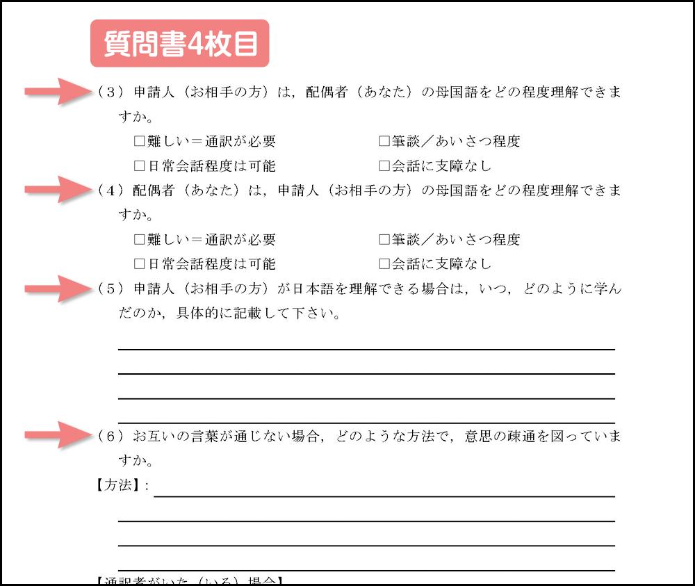 質問書のコミュニケーション項目