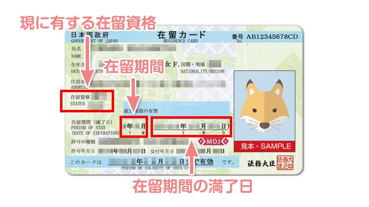 「現に有する在留資格」などの項目は在留カードから転記する