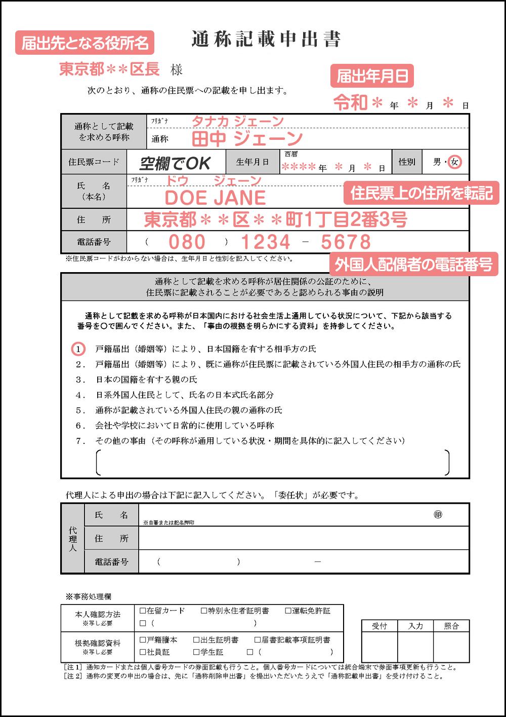 通称記載申出書の書き方・記入例