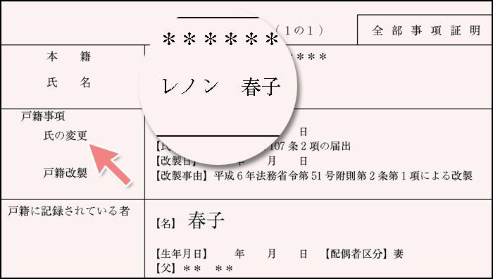 氏名変更後の戸籍謄本