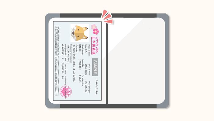 パスポートに貼られた入国査証(日本国査証)