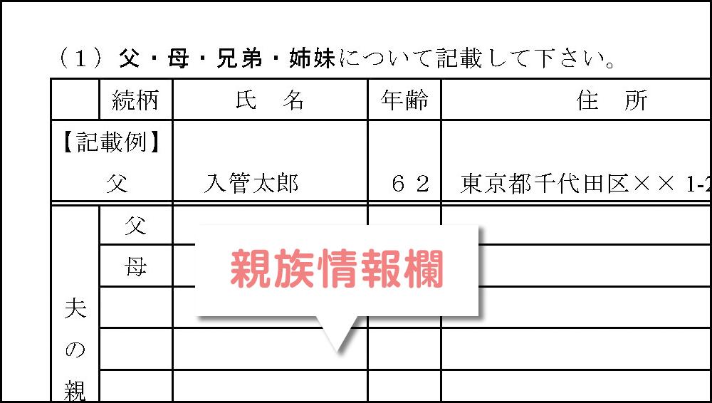 配偶者ビザ申請に必要な「質問書」の親族情報欄