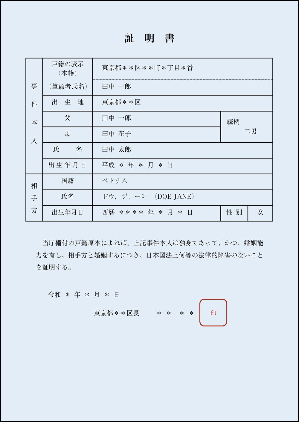 市役所・区役所発行の婚姻要件具備証明書