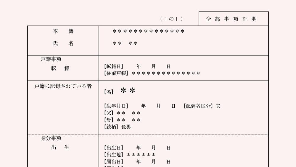 戸籍謄本(全部事項証明書)