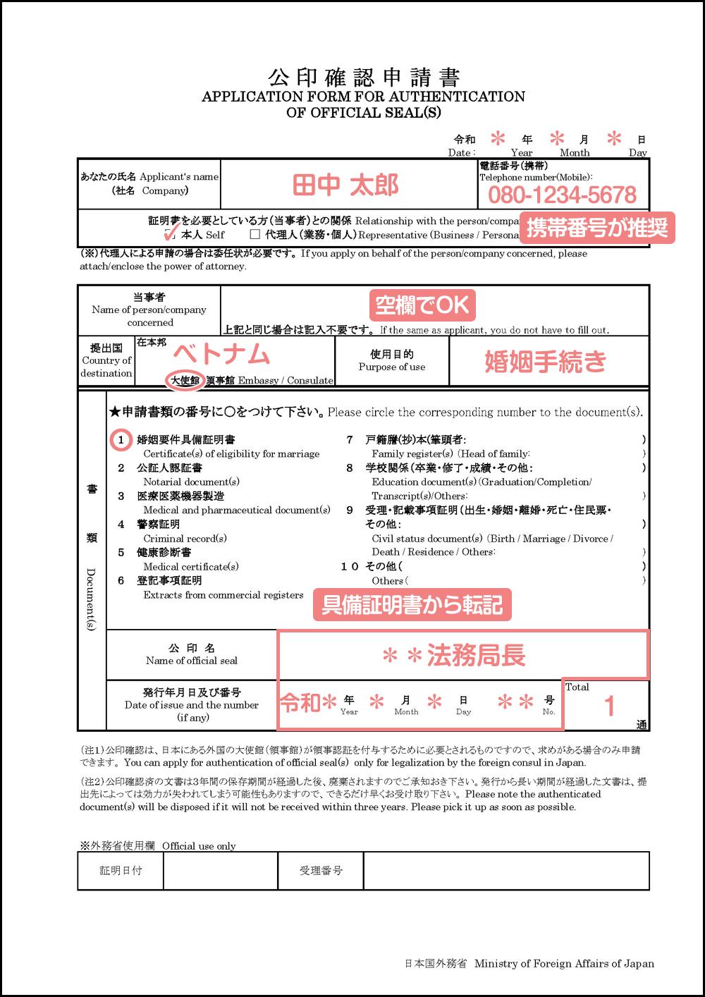 公印確認申請書