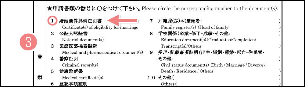 アポスティーユ申請書の書き方・記入例_書類の名称