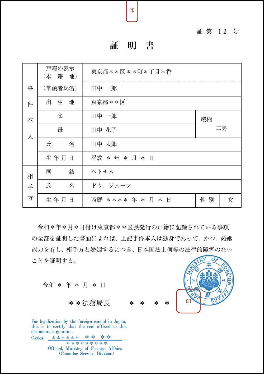 婚姻要件具備証明書の公印確認