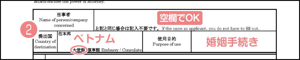 公印確認申請書の書き方や記入例_提出駐日公館と使用目的