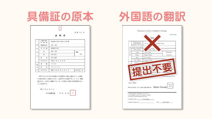 婚姻要件具備証明書の翻訳が不要なパターン