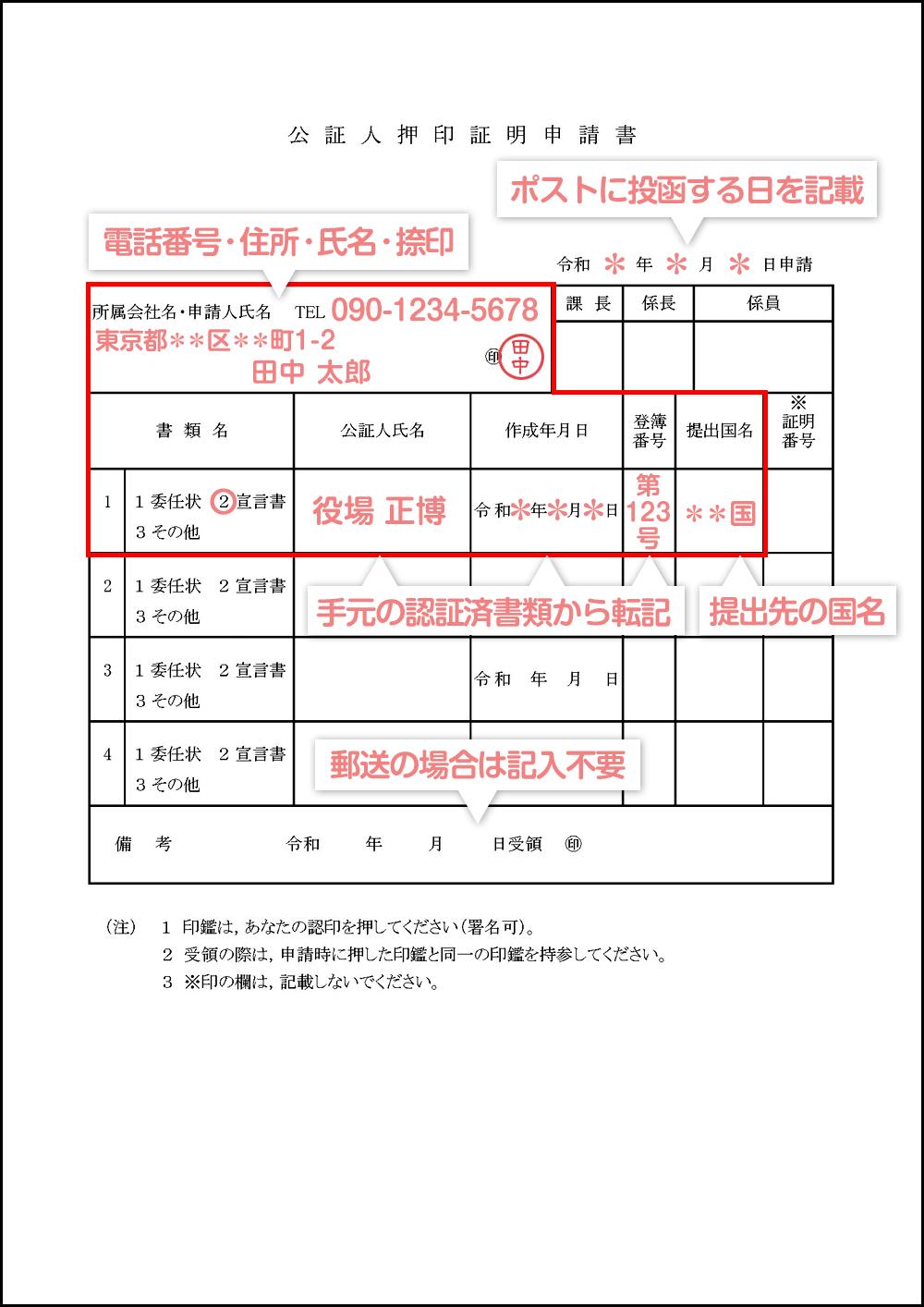 公証人押印証明申請書の見本・サンプル