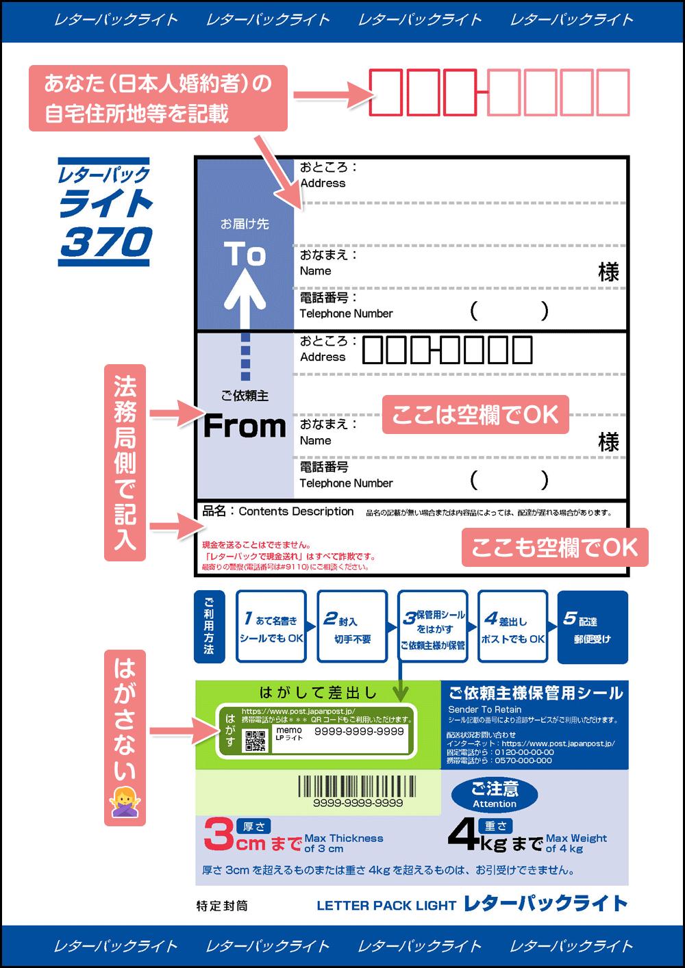 返信用レターパックの書き方_公証人押印証明