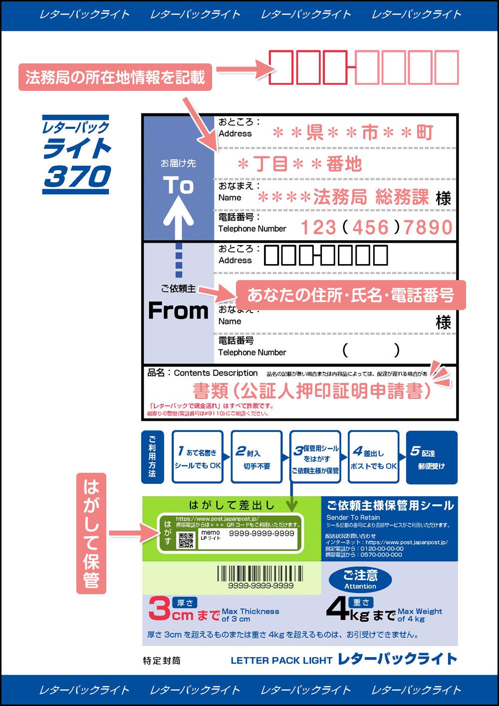 送付用レターパックの書き方_公証人押印証明