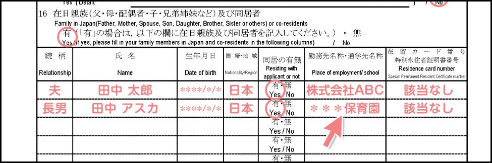 配偶者ビザの在留期間更新許可申請書の書き方_1枚目の16_保育園