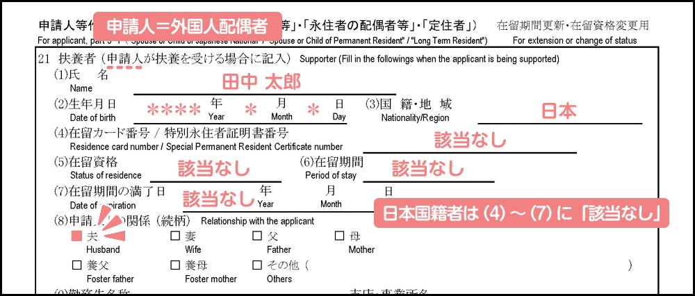 配偶者ビザの在留期間更新許可申請書の書き方_3枚目の21の前半