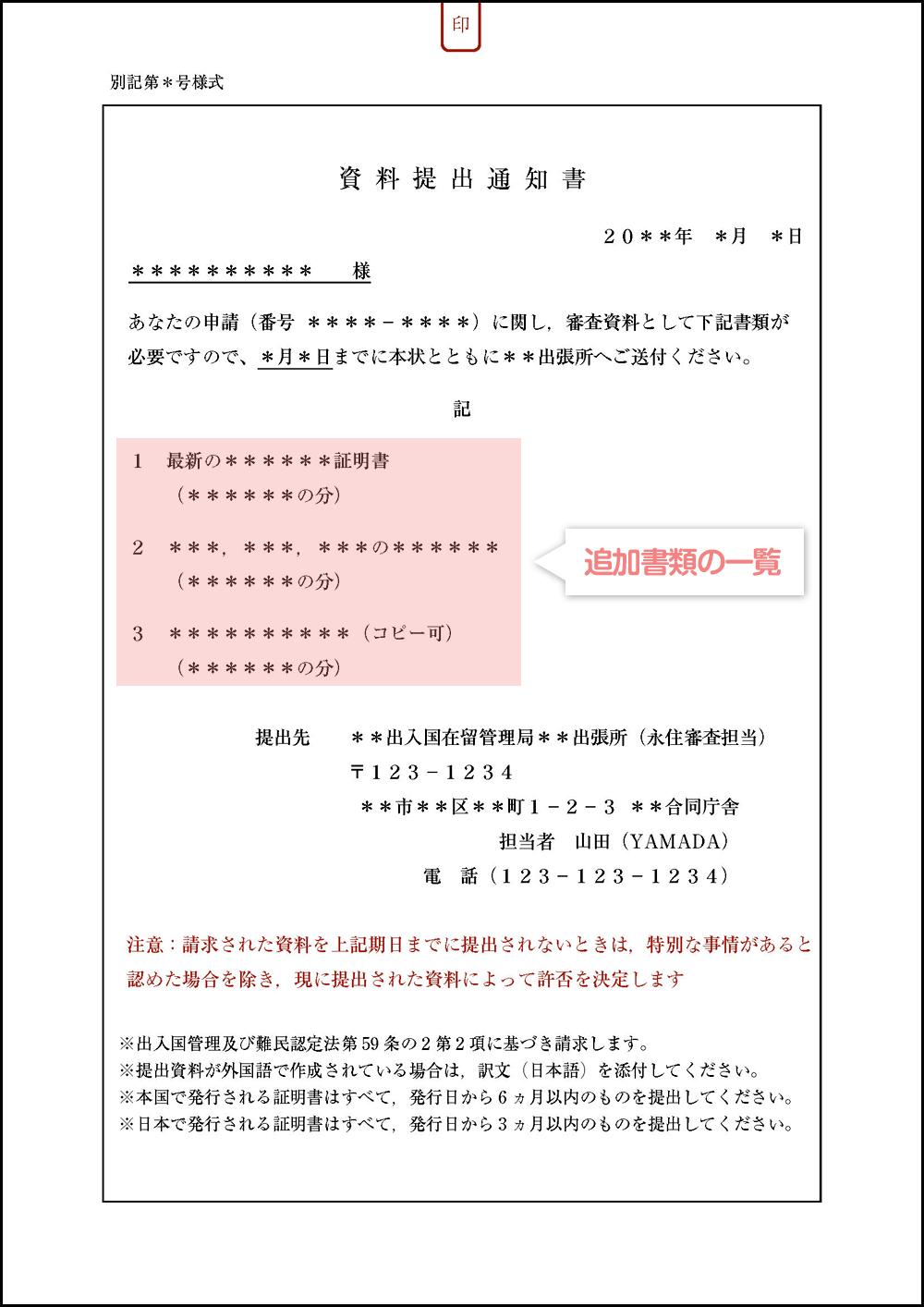 資料提出通知書(追加書類)の見本・サンプル