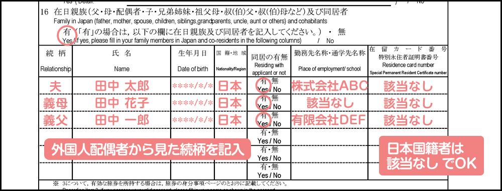 配偶者ビザ申請の在留資格変更許可申請書_1枚目の16