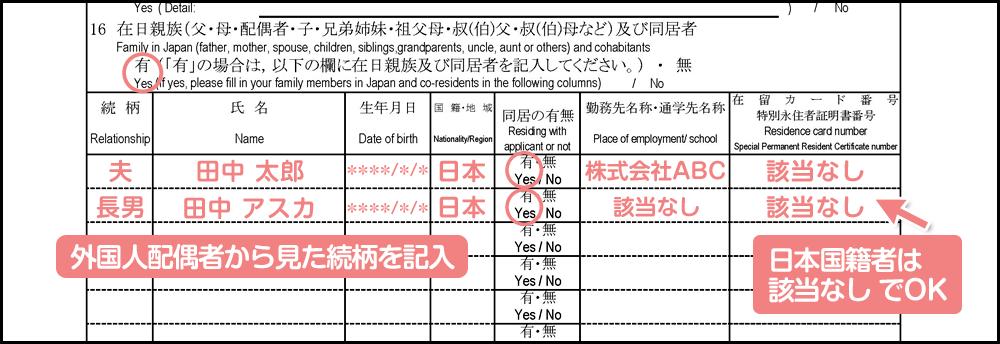 配偶者ビザの在留期間更新許可申請書の書き方_1枚目の16