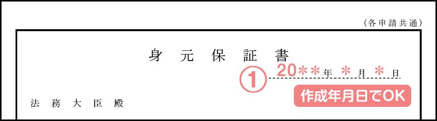 身元保証書の書き方_作成日(配偶者ビザ)