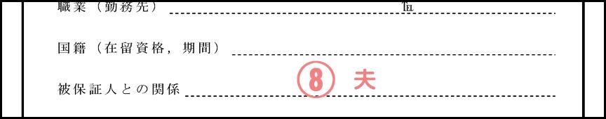 身元保証書の書き方_被保証人との関係(配偶者ビザ)