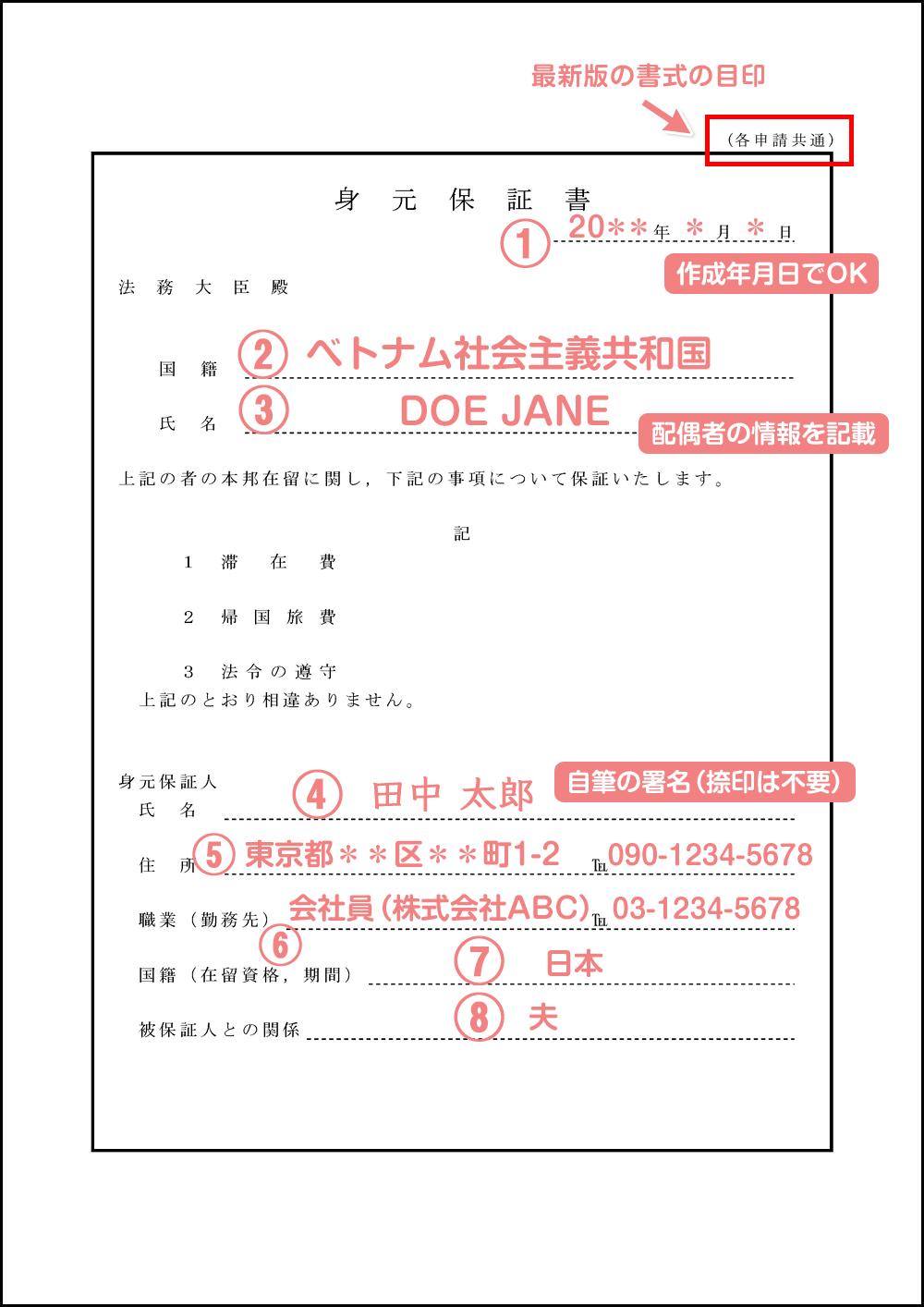 配偶者ビザの身元保証書の記入例・見本