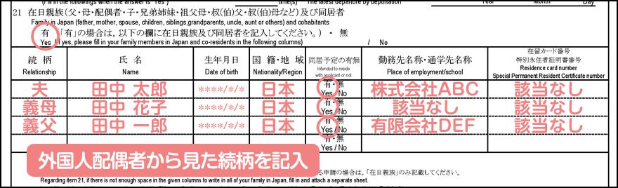 配偶者ビザ申請の在留資格認定証明書交付申請書_1枚目の21