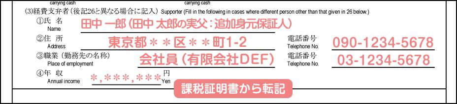 配偶者ビザ申請の在留資格認定証明書交付申請書_2枚目の25の3の補足_経費支弁者