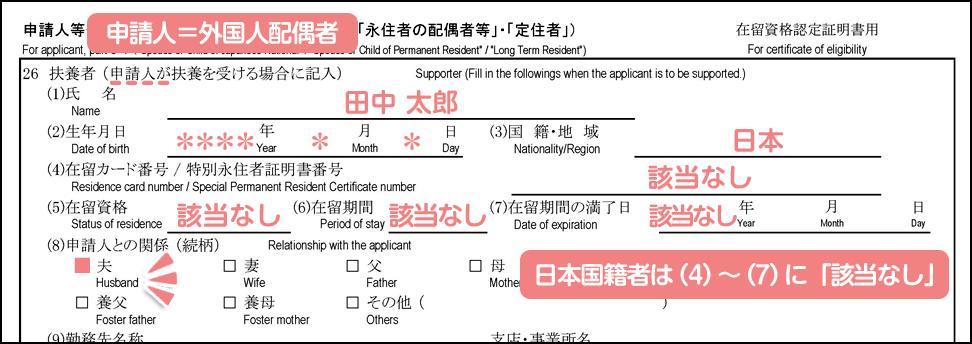 配偶者ビザ申請の在留資格認定証明書交付申請書_3枚目の26の1